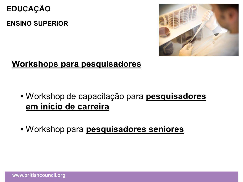 Workshops para pesquisadores Workshop de capacitação para pesquisadores em início de carreira Workshop para pesquisadores seniores EDUCAÇÃO ENSINO SUPERIOR