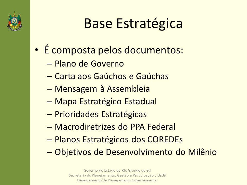 Base Estratégica É composta pelos documentos: – Plano de Governo – Carta aos Gaúchos e Gaúchas – Mensagem à Assembleia – Mapa Estratégico Estadual – P