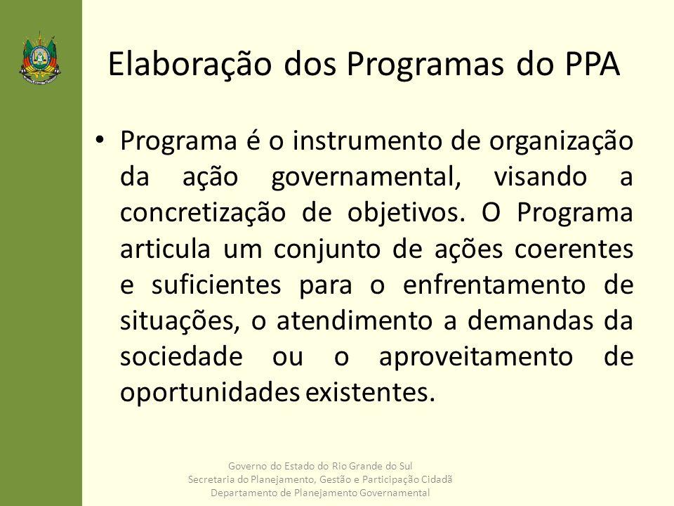 Elaboração dos Programas do PPA Programa é o instrumento de organização da ação governamental, visando a concretização de objetivos. O Programa articu