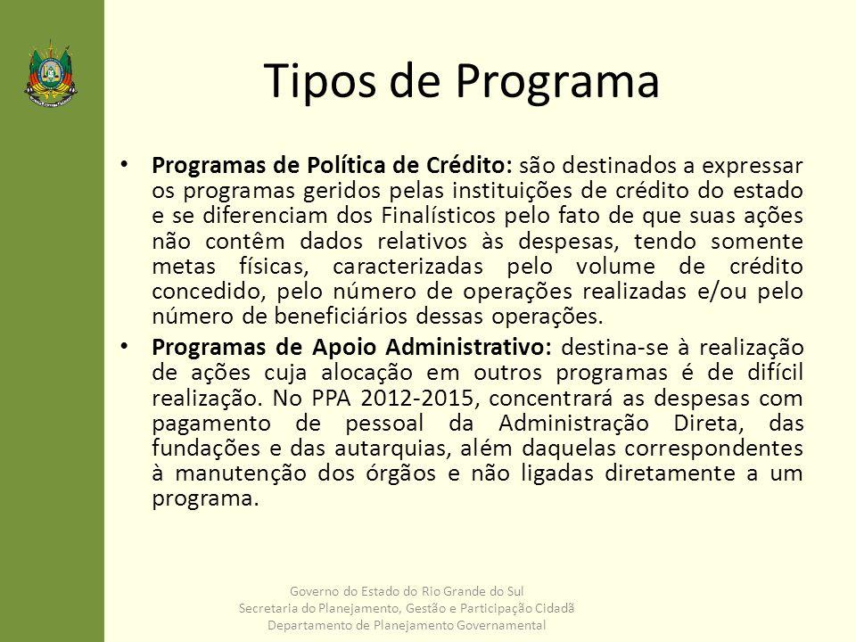 Tipos de Programa Programas de Política de Crédito: são destinados a expressar os programas geridos pelas instituições de crédito do estado e se difer
