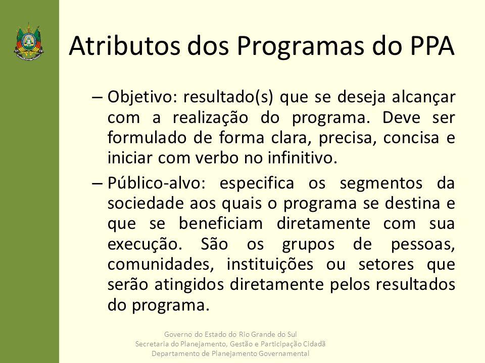 Atributos dos Programas do PPA – Objetivo: resultado(s) que se deseja alcançar com a realização do programa. Deve ser formulado de forma clara, precis