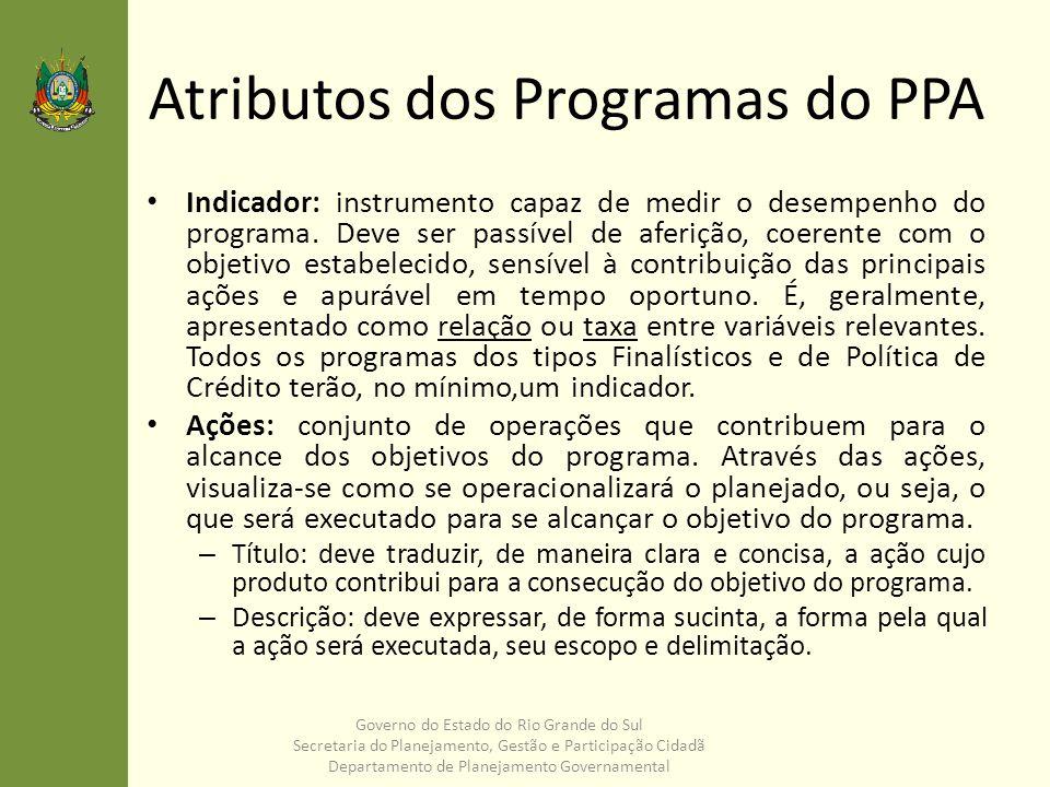 Atributos dos Programas do PPA Indicador: instrumento capaz de medir o desempenho do programa. Deve ser passível de aferição, coerente com o objetivo