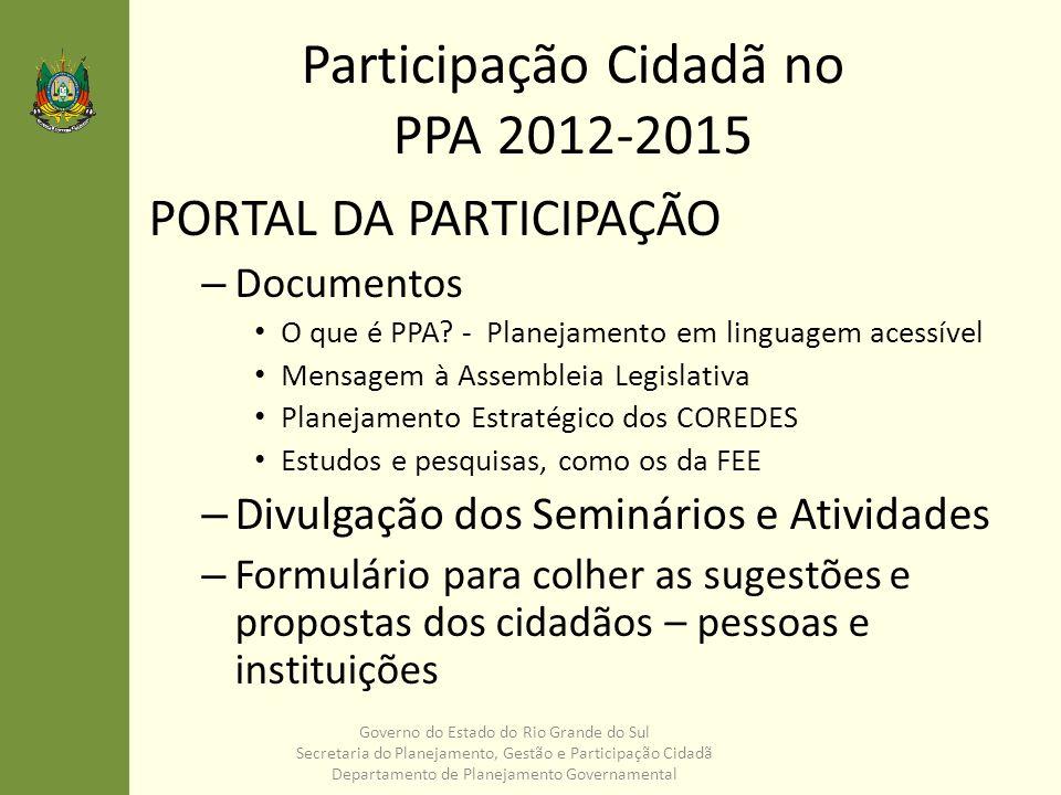 Participação Cidadã no PPA 2012-2015 PORTAL DA PARTICIPAÇÃO – Documentos O que é PPA? - Planejamento em linguagem acessível Mensagem à Assembleia Legi