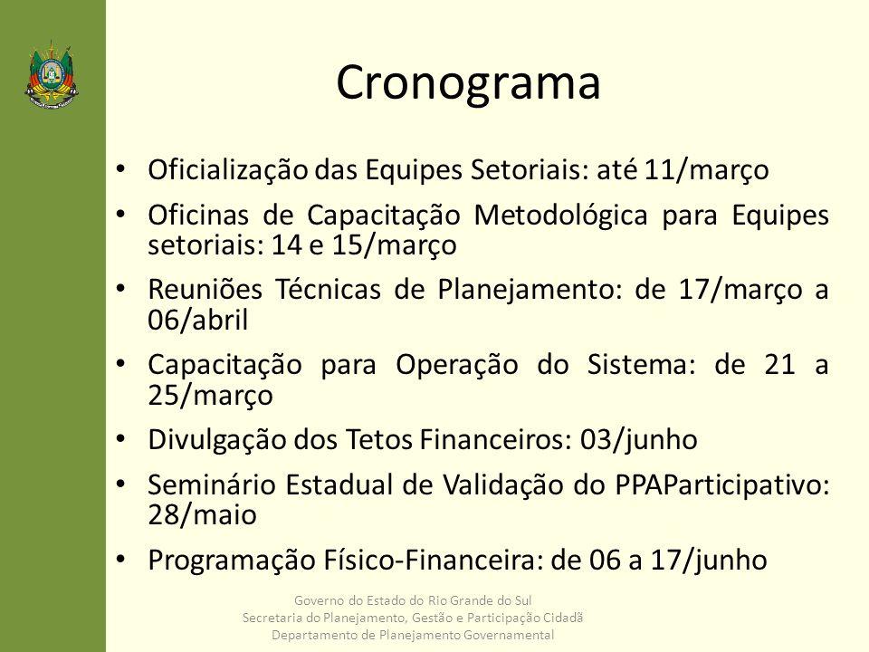 Cronograma Oficialização das Equipes Setoriais: até 11/março Oficinas de Capacitação Metodológica para Equipes setoriais: 14 e 15/março Reuniões Técni
