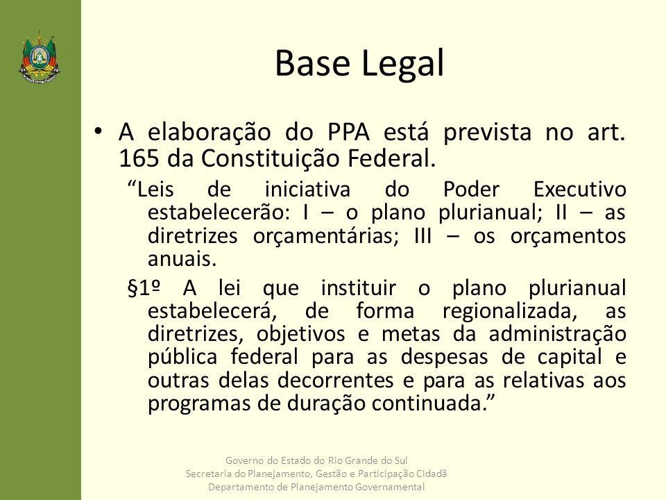 Base Legal A elaboração do PPA está prevista no art. 165 da Constituição Federal. Leis de iniciativa do Poder Executivo estabelecerão: I – o plano plu