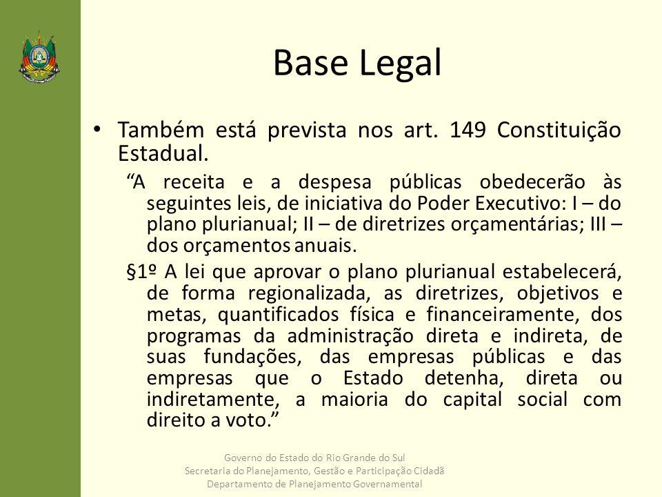 Contatos deplan@seplag.rs.gov.br Fone: 3288.1545 Governo do Estado do Rio Grande do Sul Secretaria do Planejamento, Gestão e Participação Cidadã Departamento de Planejamento Governamental