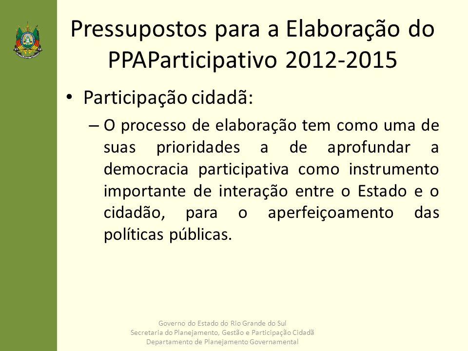 Pressupostos para a Elaboração do PPAParticipativo 2012-2015 Participação cidadã: – O processo de elaboração tem como uma de suas prioridades a de apr