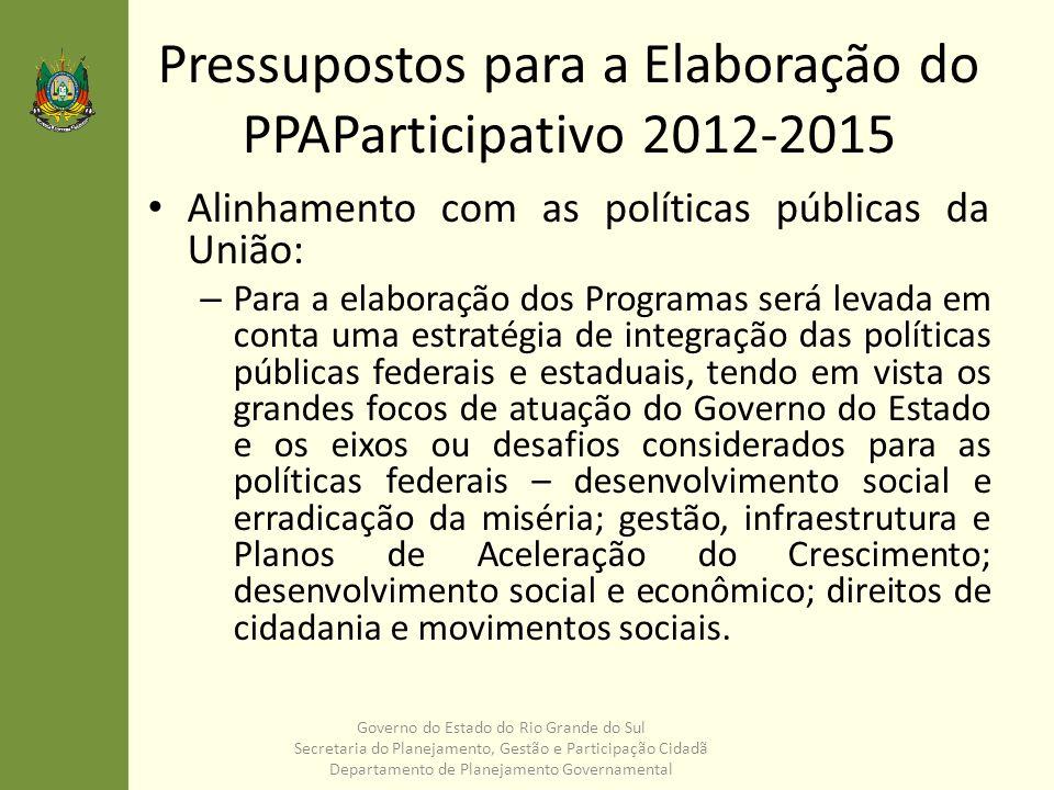 Pressupostos para a Elaboração do PPAParticipativo 2012-2015 Regionalização: – A regionalização do PPA deverá traduzir a estratégia territorial para o desenvolvimento do Rio Grande do Sul.