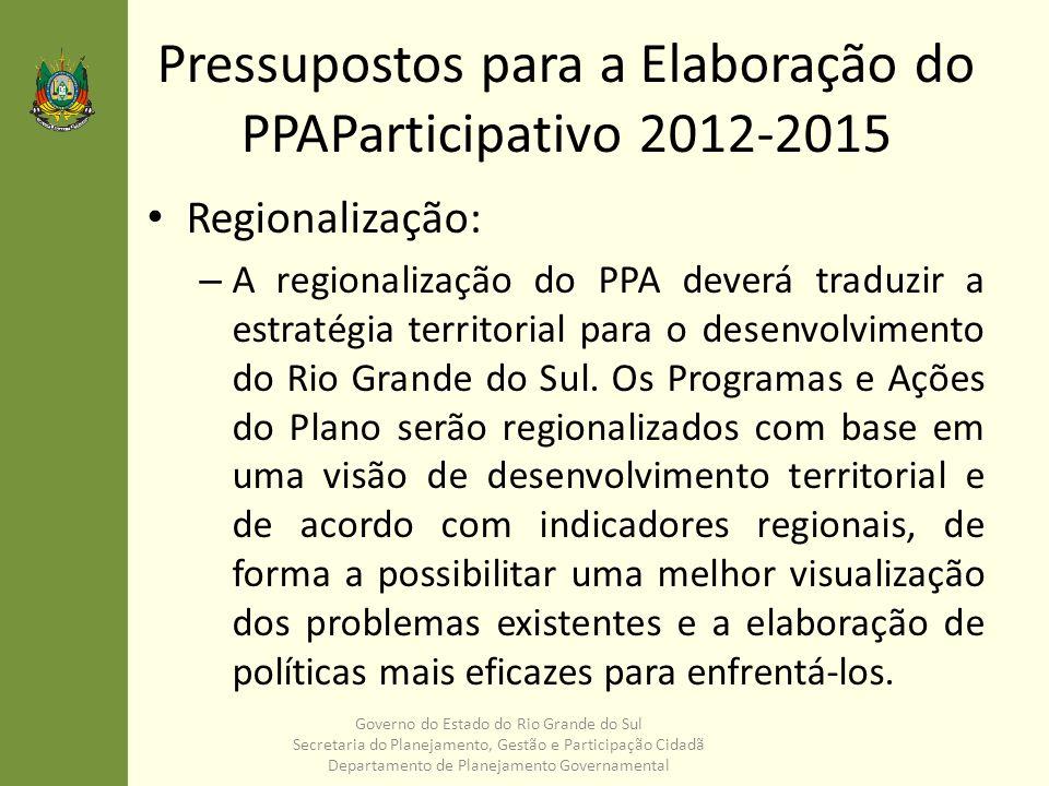 Pressupostos para a Elaboração do PPAParticipativo 2012-2015 Regionalização: – A regionalização do PPA deverá traduzir a estratégia territorial para o