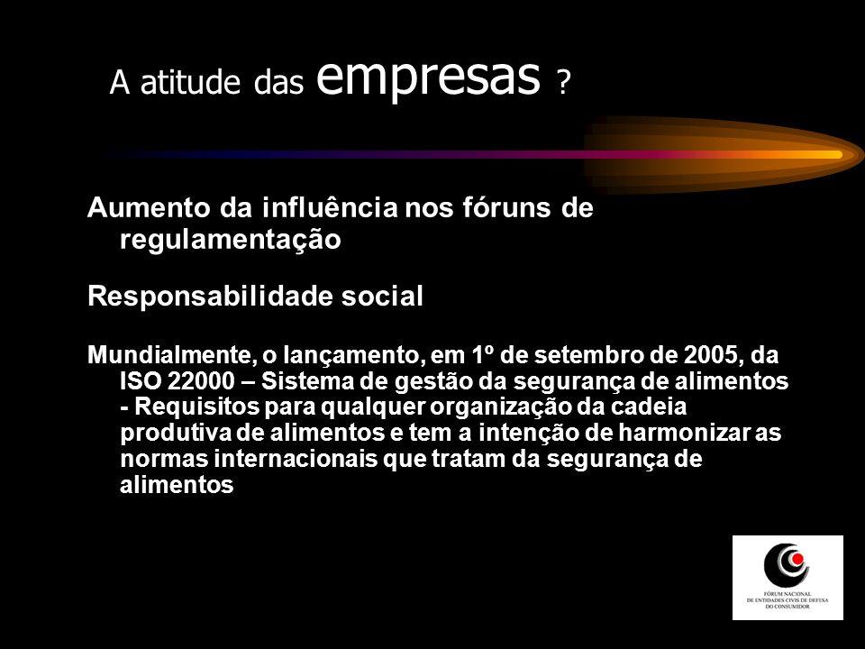 A atitude das empresas ? Aumento da influência nos fóruns de regulamentação Responsabilidade social Mundialmente, o lançamento, em 1º de setembro de 2