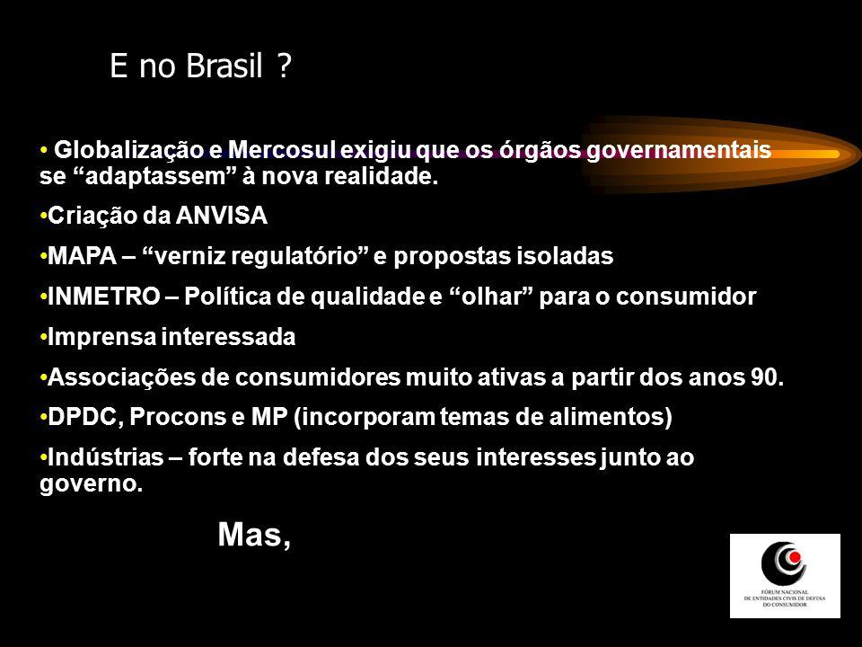 Globalização e Mercosul exigiu que os órgãos governamentais se adaptassem à nova realidade. Criação da ANVISA MAPA – verniz regulatório e propostas is
