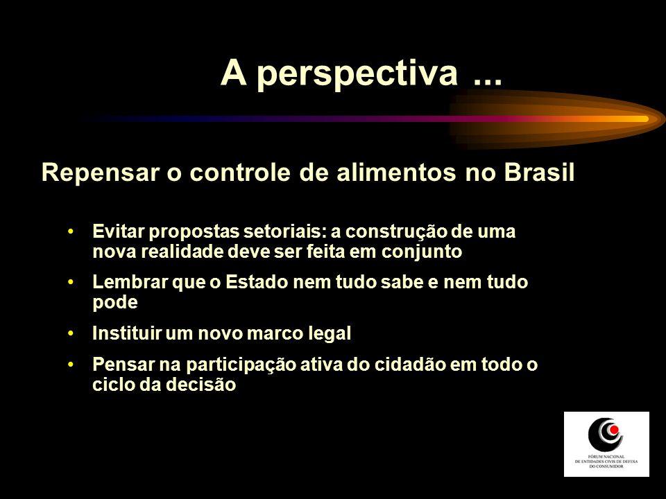 A perspectiva... Repensar o controle de alimentos no Brasil Evitar propostas setoriais: a construção de uma nova realidade deve ser feita em conjunto