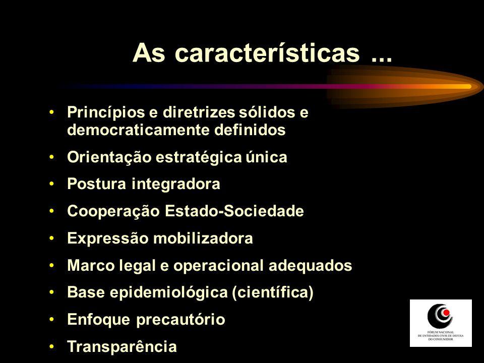 As características... Princípios e diretrizes sólidos e democraticamente definidos Orientação estratégica única Postura integradora Cooperação Estado-