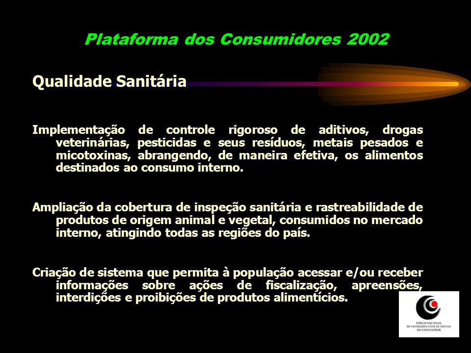 Plataforma dos Consumidores 2002 Qualidade Sanitária Implementação de controle rigoroso de aditivos, drogas veterinárias, pesticidas e seus resíduos,