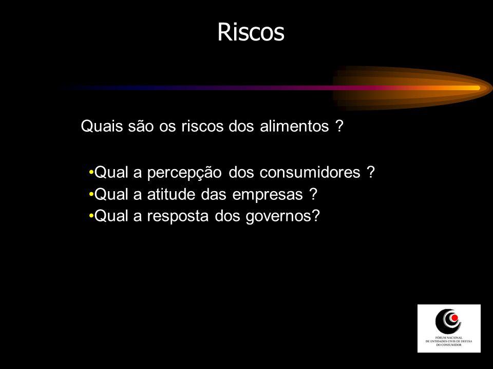 Riscos Qual a percepção dos consumidores ? Qual a atitude das empresas ? Qual a resposta dos governos? Quais são os riscos dos alimentos ?
