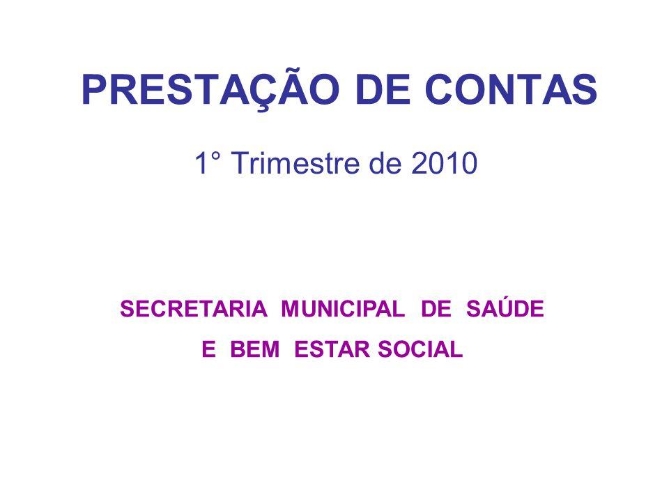 PRESTAÇÃO DE CONTAS 1° Trimestre de 2010 SECRETARIA MUNICIPAL DE SAÚDE E BEM ESTAR SOCIAL
