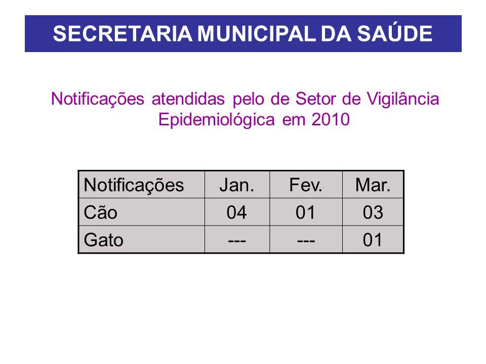 SECRETARIA MUNICIPAL DA SAÚDE Notificações atendidas pelo de Setor de Vigilância Epidemiológica em 2010 NotificaçõesJan.Fev.Mar.