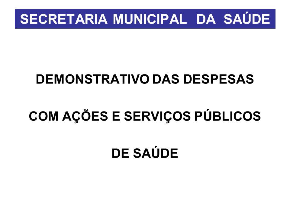 DEMONSTRATIVO DAS DESPESAS COM AÇÕES E SERVIÇOS PÚBLICOS DE SAÚDE SECRETARIA MUNICIPAL DA SAÚDE