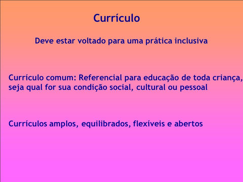 Currículo Deve estar voltado para uma prática inclusiva Currículos amplos, equilibrados, flexíveis e abertos Currículo comum: Referencial para educaçã