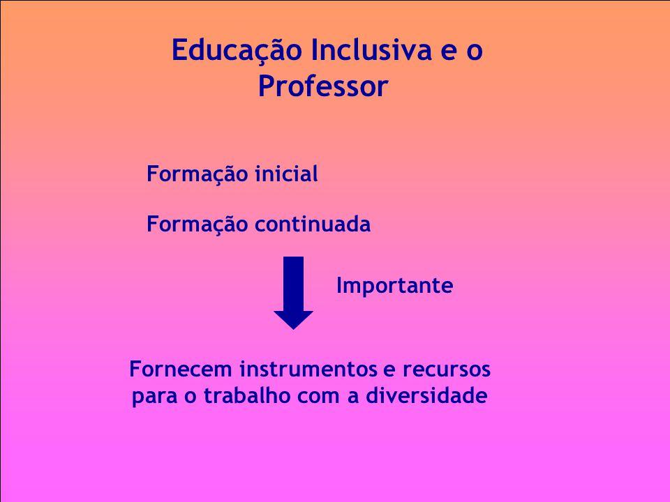 Educação Inclusiva e o Professor Formação inicial Importante Fornecem instrumentos e recursos para o trabalho com a diversidade Formação continuada