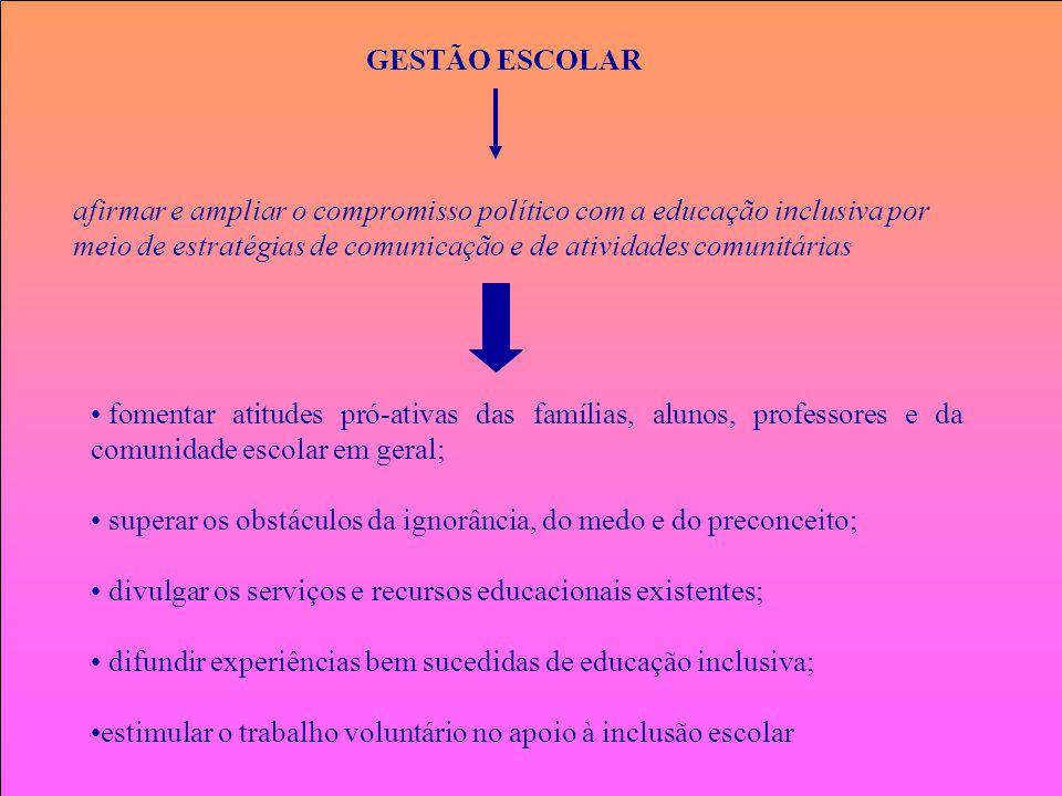 GESTÃO ESCOLAR afirmar e ampliar o compromisso político com a educação inclusiva por meio de estratégias de comunicação e de atividades comunitárias f