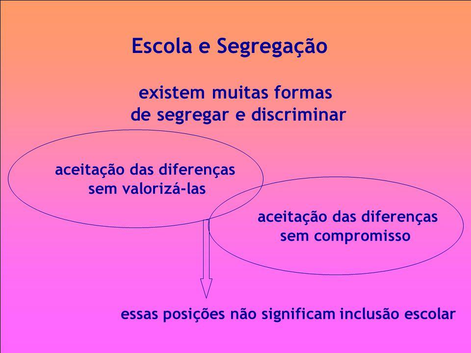 Escola e Segregação existem muitas formas de segregar e discriminar aceitação das diferenças sem valorizá-las aceitação das diferenças sem compromisso