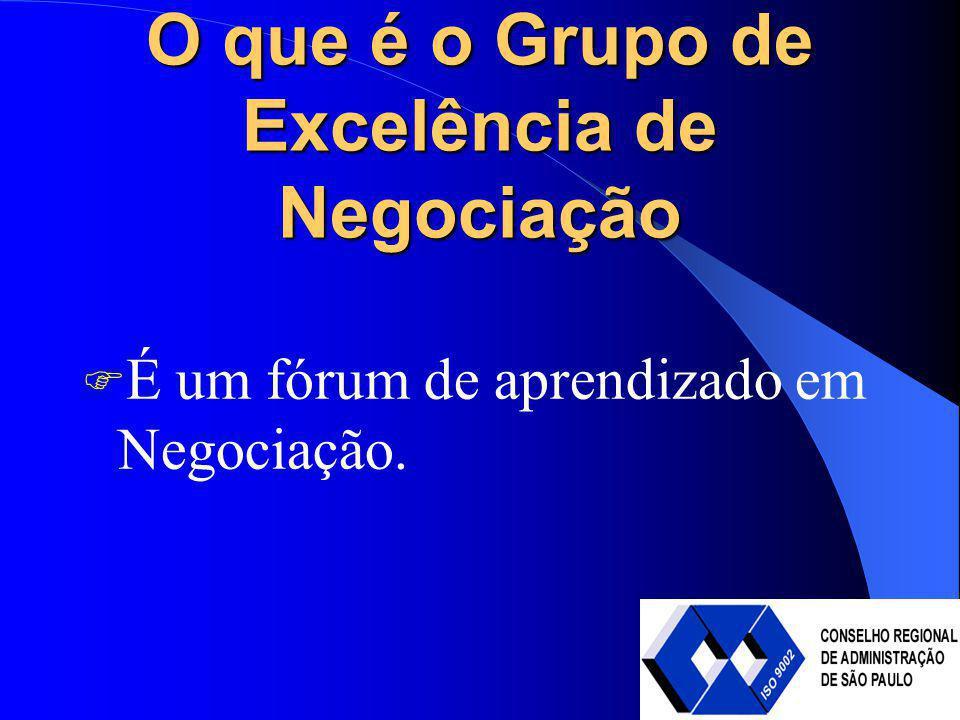 O que é o Grupo de Excelência de Negociação É um fórum de aprendizado em Negociação.