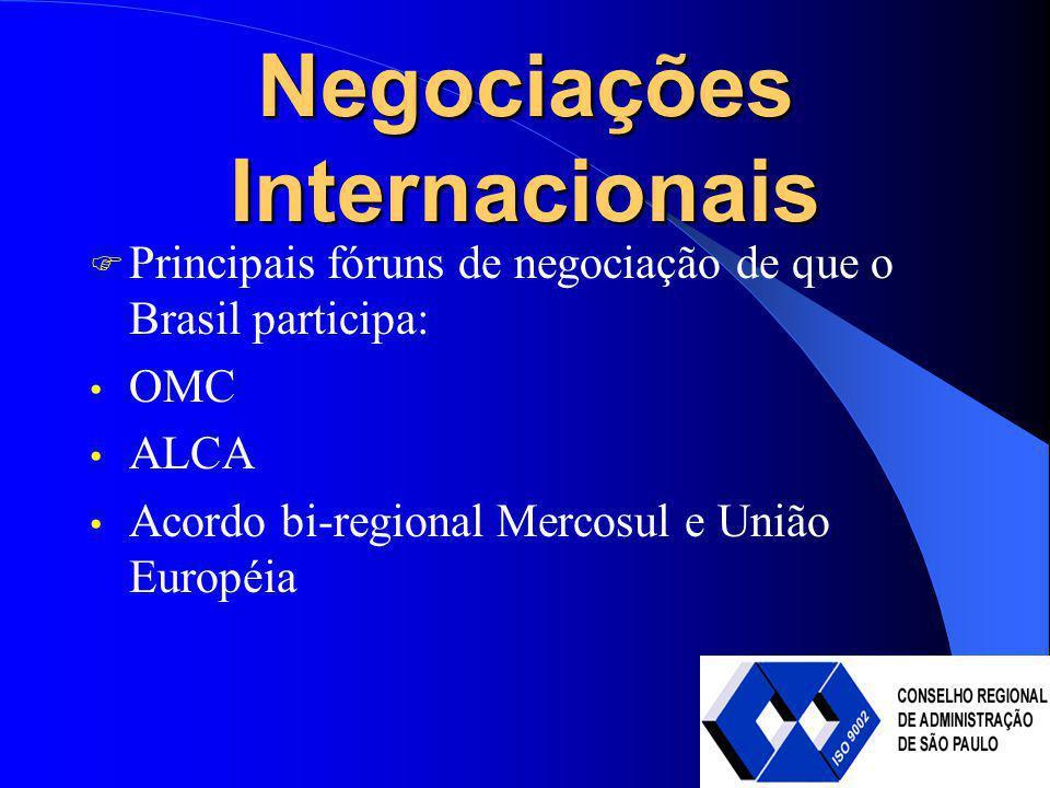 Negociações Internacionais Principais fóruns de negociação de que o Brasil participa: OMC ALCA Acordo bi-regional Mercosul e União Européia