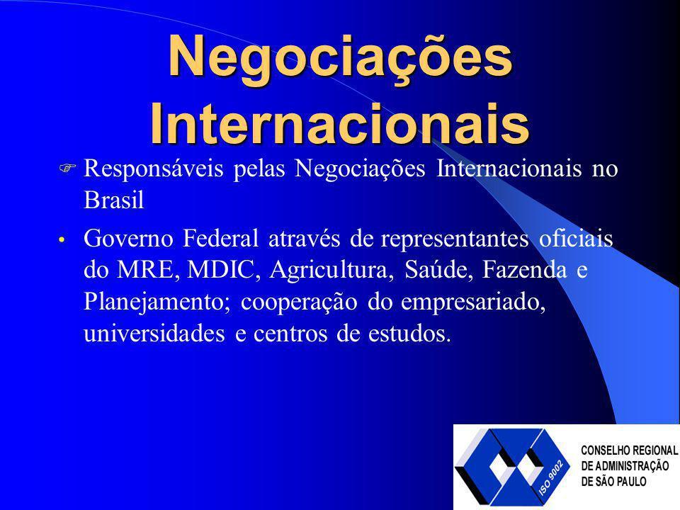 Negociações Internacionais Responsáveis pelas Negociações Internacionais no Brasil Governo Federal através de representantes oficiais do MRE, MDIC, Ag