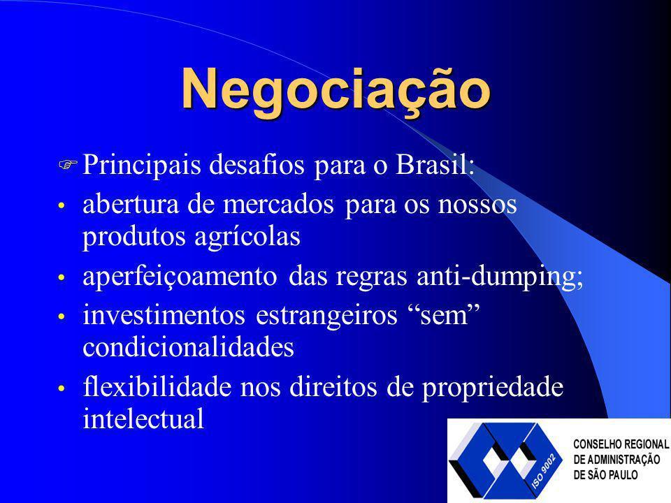 Negociação Principais desafios para o Brasil: abertura de mercados para os nossos produtos agrícolas aperfeiçoamento das regras anti-dumping; investim