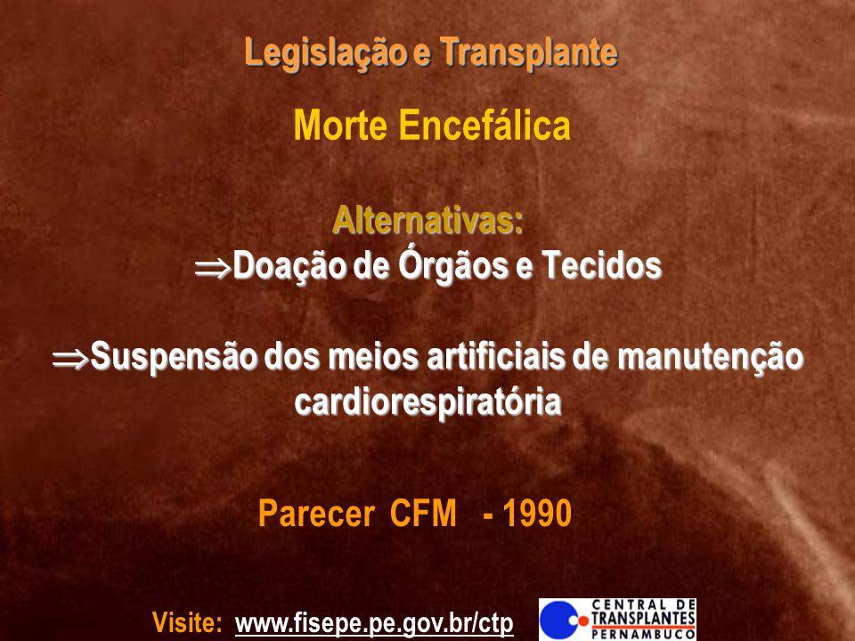 Visite: www.fisepe.pe.gov.br/ctp Legislação e Transplante Alternativas: Doação de Órgãos e Tecidos Suspensão dos meios artificiais de manutenção cardi
