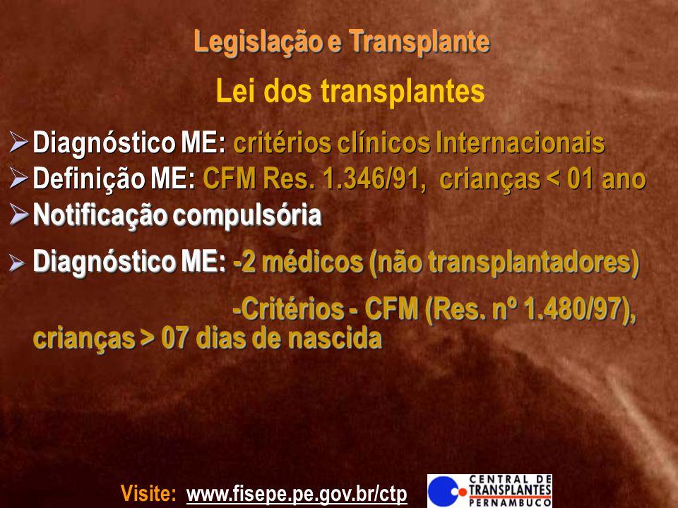 Visite: www.fisepe.pe.gov.br/ctp Legislação e Transplante Lei dos transplantes Diagnóstico ME: critérios clínicos Internacionais Definição ME: CFM Res