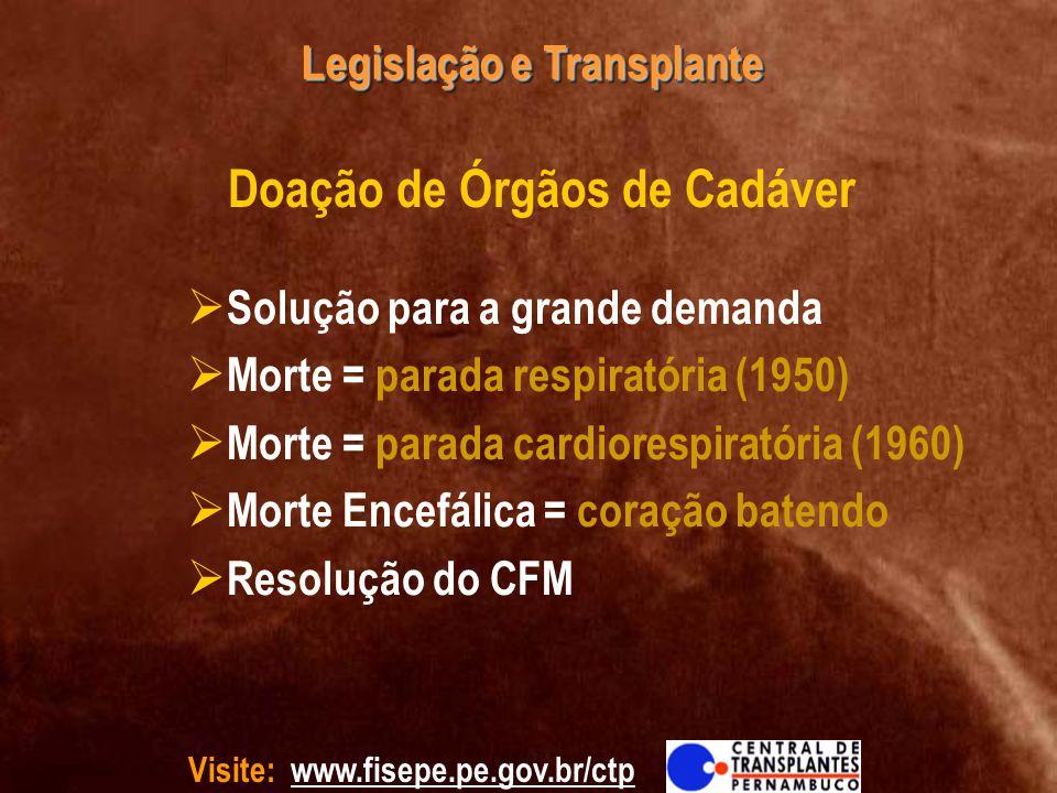Visite: www.fisepe.pe.gov.br/ctp Legislação e Transplante Solução para a grande demanda Morte = parada respiratória (1950) Morte = parada cardiorespir