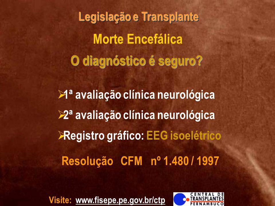 Visite: www.fisepe.pe.gov.br/ctp Legislação e Transplante O diagnóstico é seguro? Morte Encefálica O diagnóstico é seguro? 1ª avaliação clínica neurol