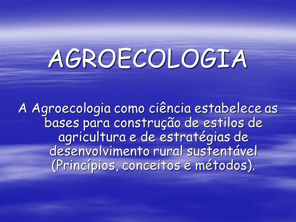 AGROECOLOGIA A Agroecologia como ciência estabelece as bases para construção de estilos de agricultura e de estratégias de desenvolvimento rural suste