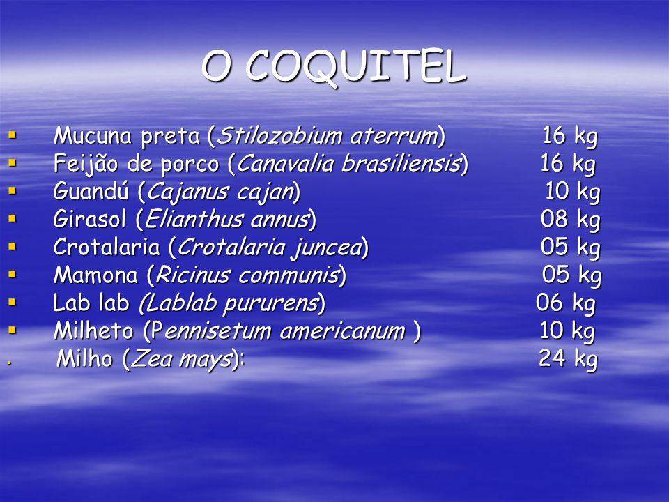 O COQUITEL Mucuna preta (Stilozobium aterrum)16 kg Mucuna preta (Stilozobium aterrum)16 kg Feijão de porco (Canavalia brasiliensis) 16 kg Feijão de po