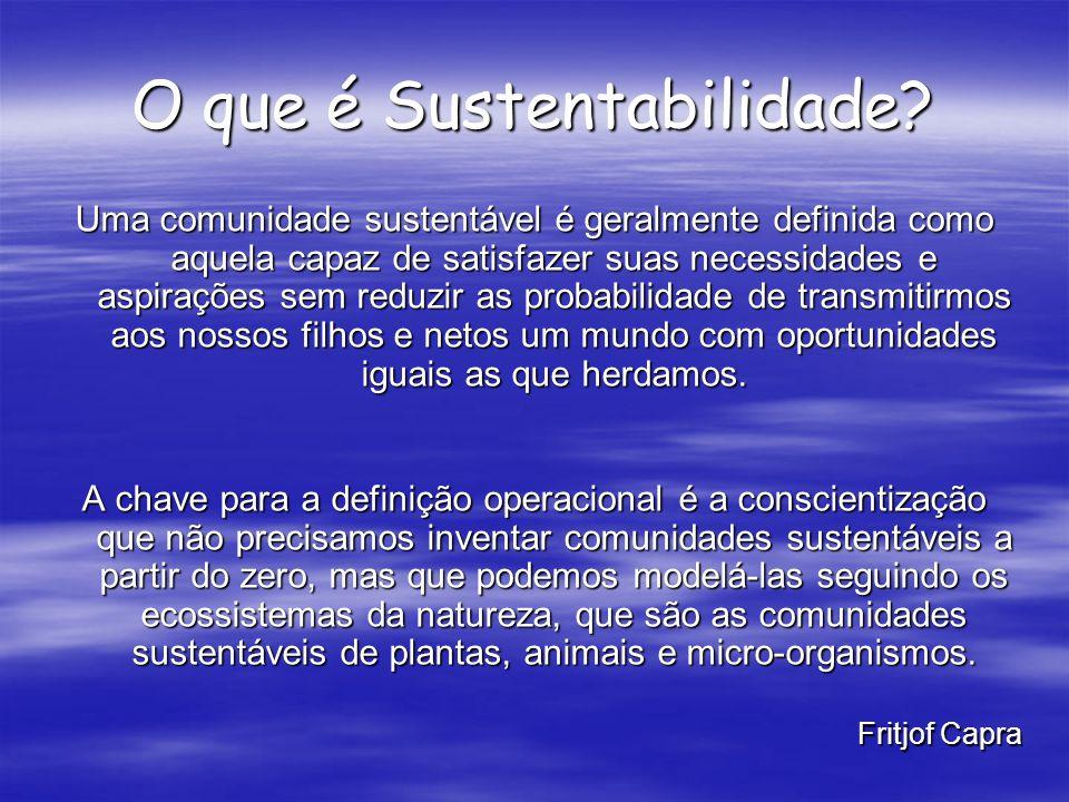 O que é Sustentabilidade? Uma comunidade sustentável é geralmente definida como aquela capaz de satisfazer suas necessidades e aspirações sem reduzir