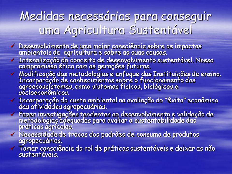 Medidas necessárias para conseguir uma Agricultura Sustentável Desenvolvimento de uma maior consciência sobre os impactos ambientais da agricultura e