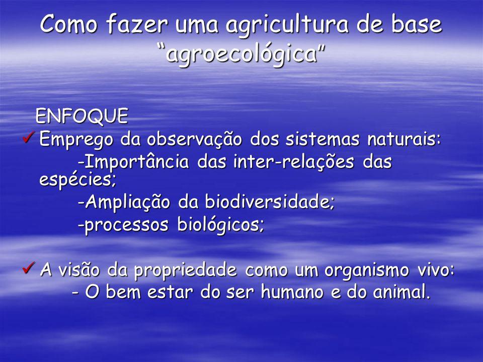 Como fazer uma agricultura de base agroecológica Como fazer uma agricultura de base agroecológica ENFOQUE ENFOQUE Emprego da observação dos sistemas n