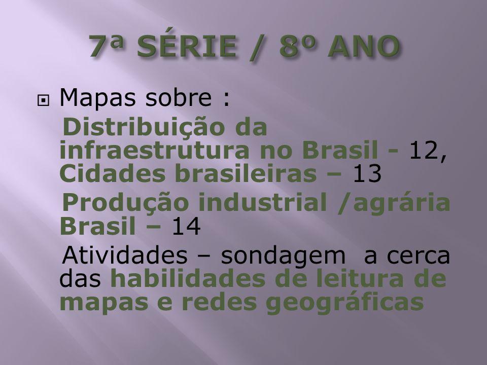 Mapas sobre : Distribuição da infraestrutura no Brasil - 12, Cidades brasileiras – 13 Produção industrial /agrária Brasil – 14 Atividades – sondagem a