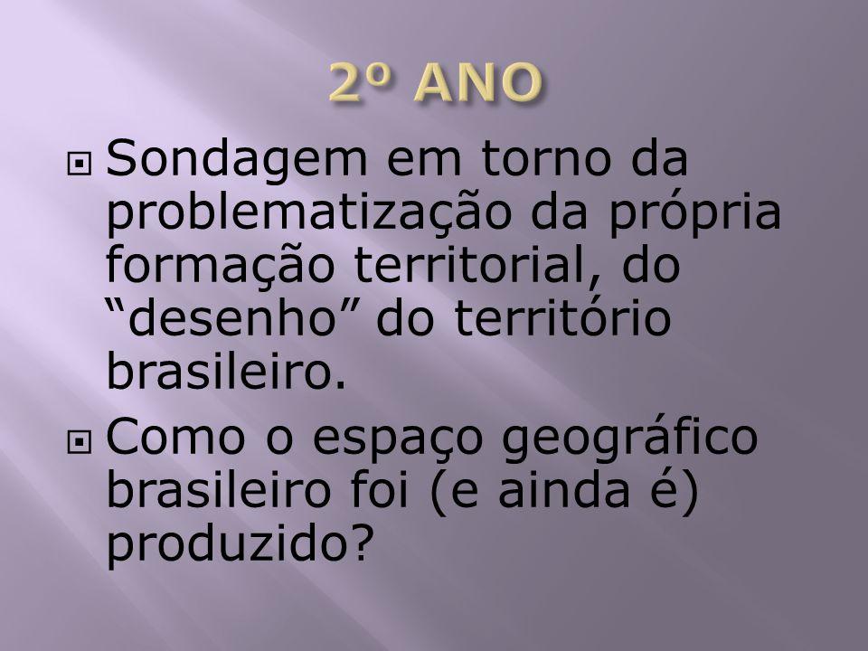 Sondagem em torno da problematização da própria formação territorial, do desenho do território brasileiro. Como o espaço geográfico brasileiro foi (e