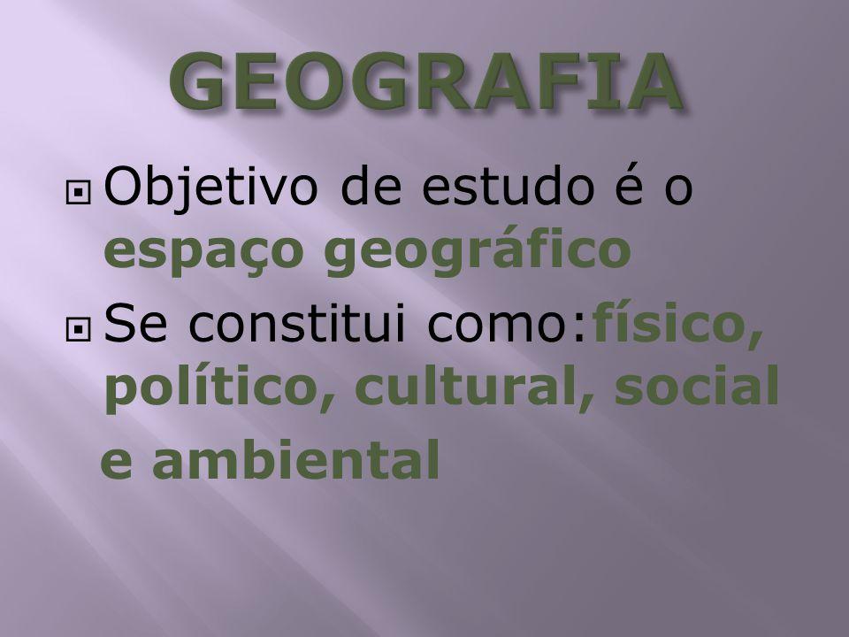 Objetivo de estudo é o espaço geográfico Se constitui como:físico, político, cultural, social e ambiental