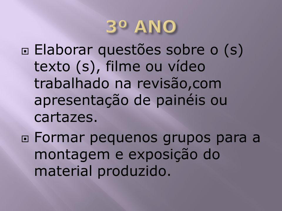 Elaborar questões sobre o (s) texto (s), filme ou vídeo trabalhado na revisão,com apresentação de painéis ou cartazes. Formar pequenos grupos para a m