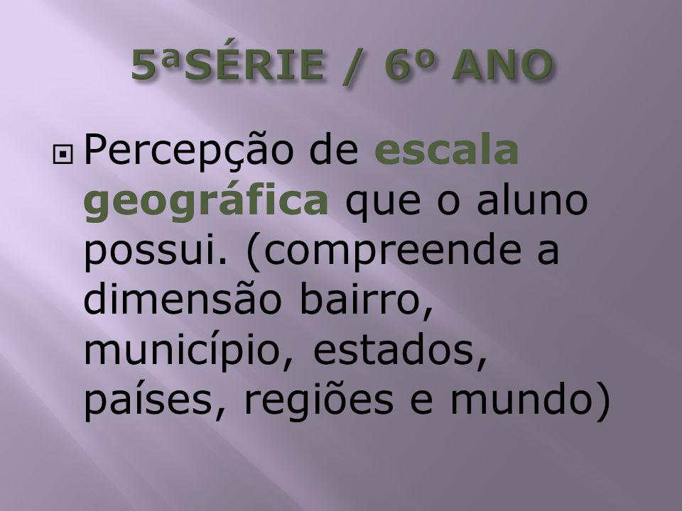 Percepção de escala geográfica que o aluno possui. (compreende a dimensão bairro, município, estados, países, regiões e mundo)