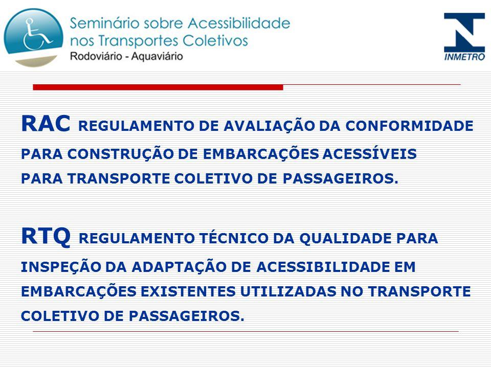 RAC REGULAMENTO DE AVALIAÇÃO DA CONFORMIDADE PARA CONSTRUÇÃO DE EMBARCAÇÕES ACESSÍVEIS PARA TRANSPORTE COLETIVO DE PASSAGEIROS.