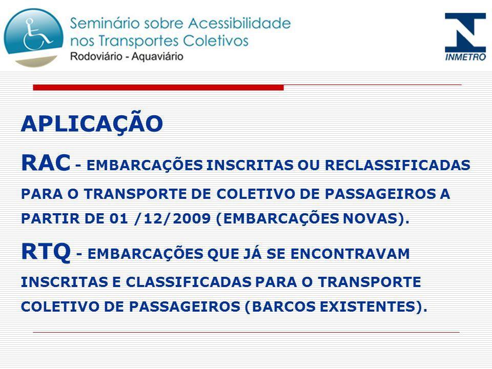APLICAÇÃO RAC - EMBARCAÇÕES INSCRITAS OU RECLASSIFICADAS PARA O TRANSPORTE DE COLETIVO DE PASSAGEIROS A PARTIR DE 01 /12/2009 (EMBARCAÇÕES NOVAS). RTQ