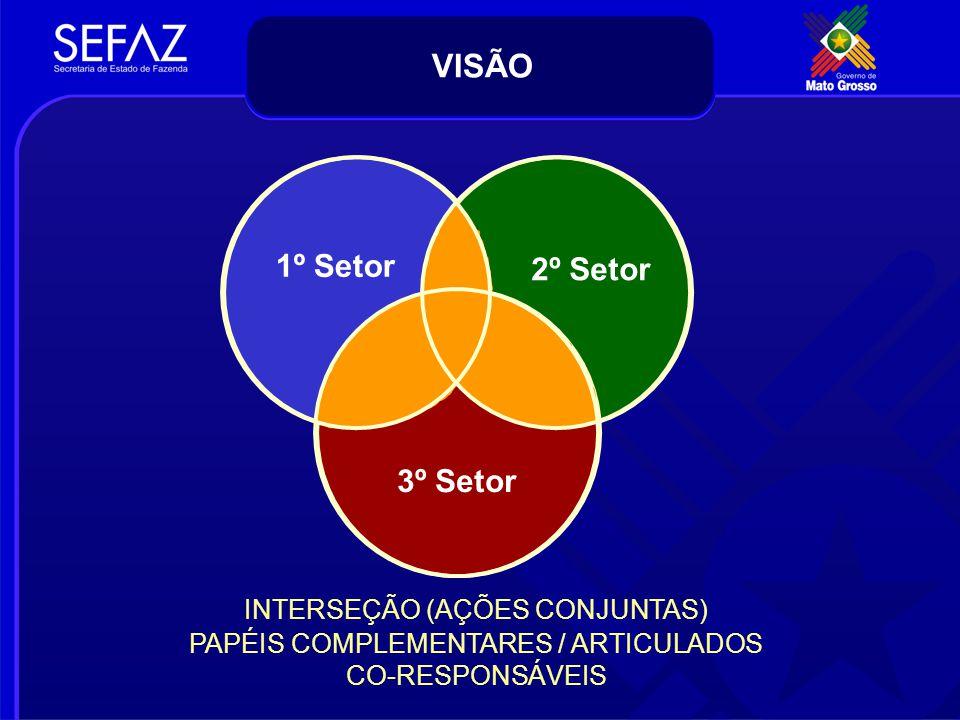 1º Setor 2º Setor 3º Setor INTERSEÇÃO (AÇÕES CONJUNTAS) PAPÉIS COMPLEMENTARES / ARTICULADOS CO-RESPONSÁVEIS VISÃO
