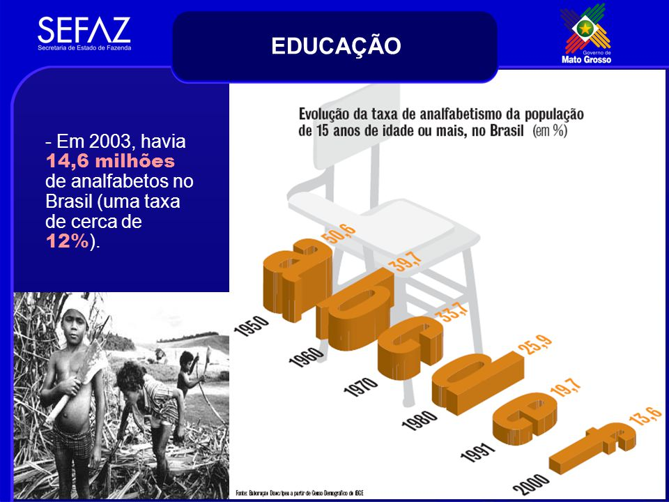 - Em 2003, havia 14,6 milhões de analfabetos no Brasil (uma taxa de cerca de 12% ). EDUCAÇÃO