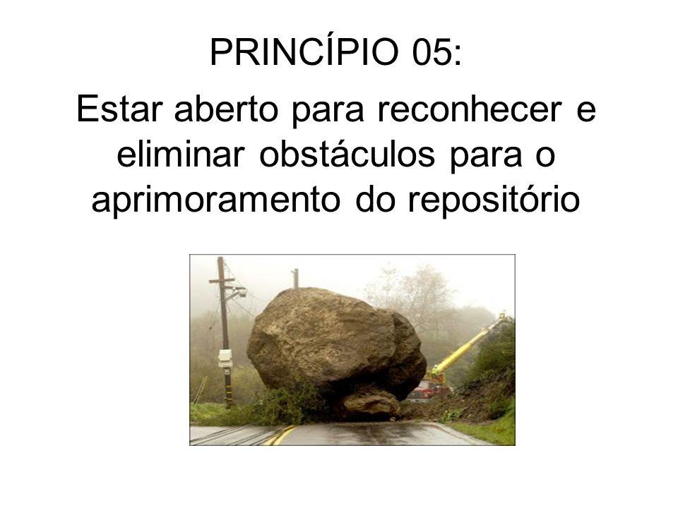 PRINCÍPIO 05: Estar aberto para reconhecer e eliminar obstáculos para o aprimoramento do repositório