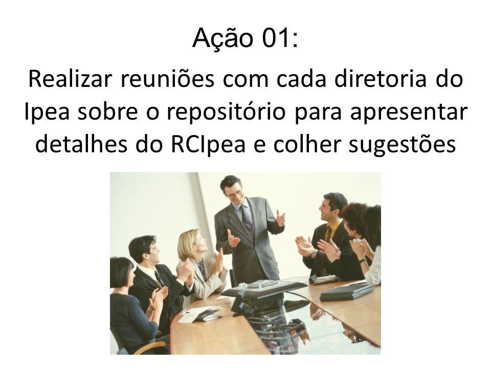Ação 01: Realizar reuniões com cada diretoria do Ipea sobre o repositório para apresentar detalhes do RCIpea e colher sugestões